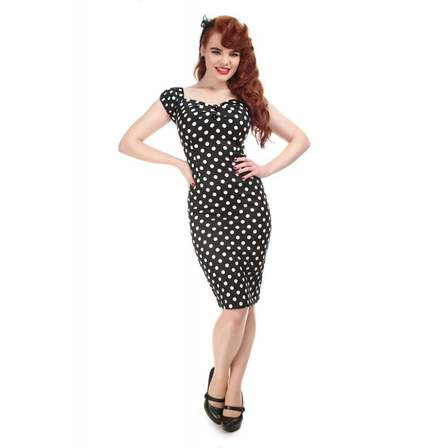 COLLECTIF Dolores Black White polka Dot Wiggle Dress