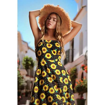 COLLECTIF Maggie Sunflower Swing Dress