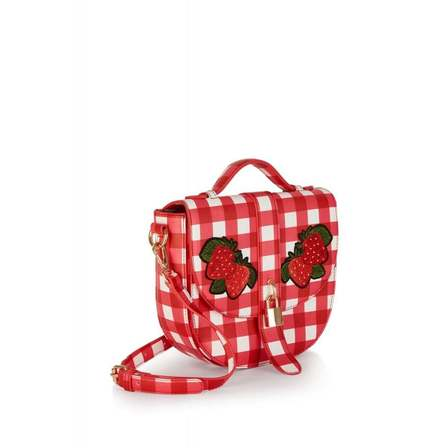 COLLECTIF Lydia Gingham Strawberry Bag