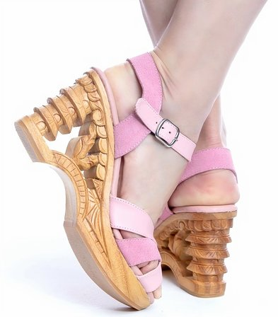 LUCKY LOU SHOES Pagoda Wedge Pink Suede And Leather Strap