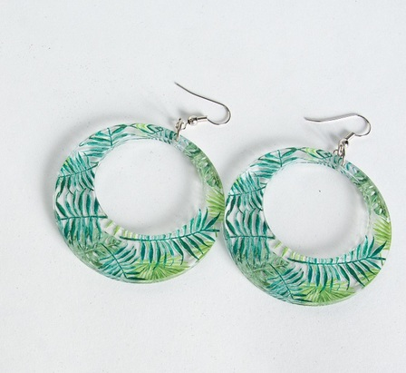 Mila Hoop Earrings Blue Green Leaves