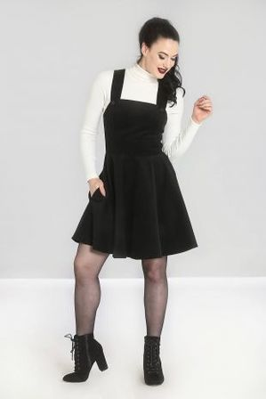 HELL BUNNY Wonder Years Pinafore Dress Black Last One Size 14