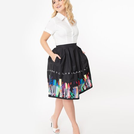 UNIQUE VINTAGE Teacher Border Jayne Skirt