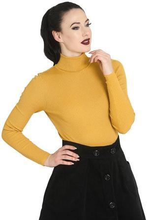HELL BUNNY Spiros Long Sleeved Ribbed Polo Top Mustard