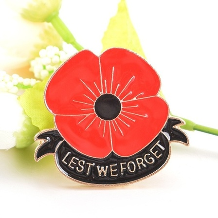 Lest We Forget Poppy Brooch Pin