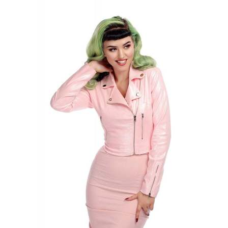 Collectif Outlaw Biker Jacket Pink Glitter