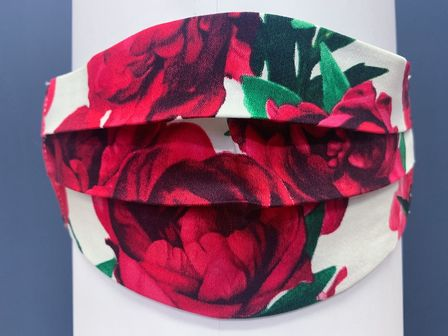 Red Flower on White Face Mask