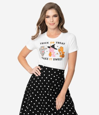 UNIQUE VINTAGE Care Bears Trick Or Treat Make It Sweet Womans Tee