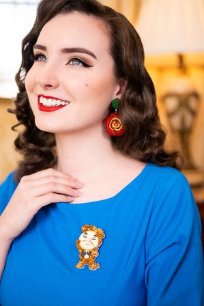 DAISY JEAN FLORAL Beauty And The Beast Clock Brooch