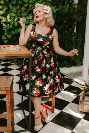 DOLLY AND DOTTY Amanda 50s Inspired Flared Swing Dress Black Strawberries
