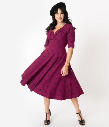 UNIQUE VINTAGE Purple & Black Polka Dot Delores Swing Dress with Sleeves