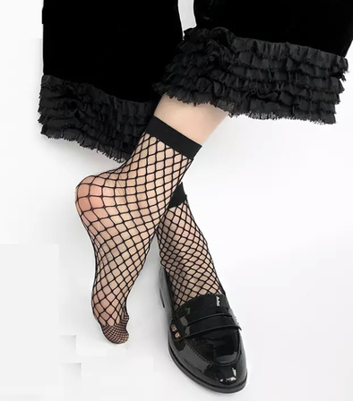 THE ROCKABILLY SHOP Fishnet Ankle Sock- Raven