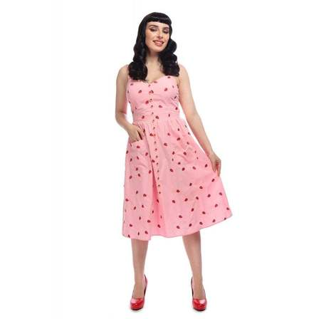 COLLECTIF Kimberley Embroidered Strawberry Dress Pink