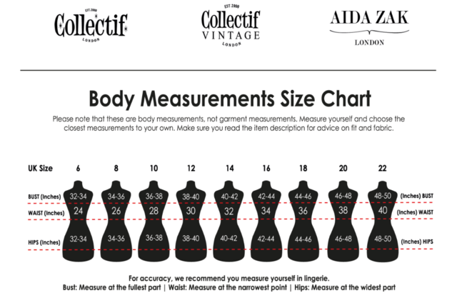 Collectif Size Chart